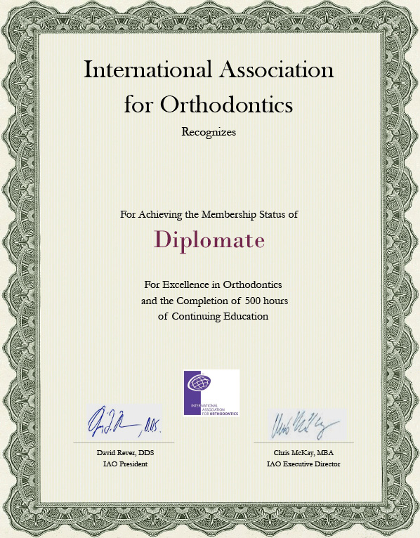 international association orthodontics diplomate certificate